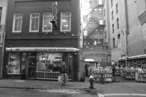 Brattle Book Shop offers thousands of used books at reasonable prices.  The store is located at 9 West Street in Boston.  (Photo by Krista DeJulio)