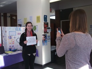 Photo by Kayli Hertel Jenna Mucci smiles for the camera to bring light to a not so happy topic.