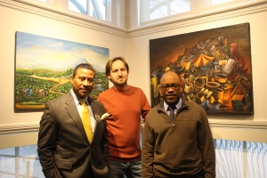 Photo by Krista DeJulio Joseph Chery, Vladimir ___ and Charlot Lucien at the gallery's reception.