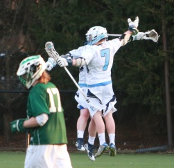 Offensive captain Pat Egan celebrates after scoring a goal.