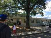 Students walk to the temporary modular classrooms located on the Grove Street parking lot. Photo by Ryan Fitzgerald.