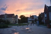 A beautiful sunset over the Arnow Courtyard. Photo by Jackie Colombie.