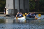 Families battle it out on the Charles River during the annual Lasell boat race. Photo by Morgan Vanwickler.
