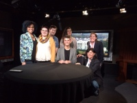 From left to right: Students Kurrine Fruster, Tessa Dinnie, Spencer Kosior, Kaley Chamberlain, Tyler Hurst, professor Erin Vicente (top right) and professor Marie Franklin (bottom right) on set of Mobile Video Services in Washington D.C.