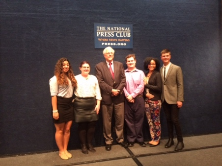 From left to right: Students Kaley Chamberlain, Tessa Dinnie, Gil Klein, Director of Journalism and New Media at American University, Spencer Kosior, Korrine Fruster, and Tyler Hurst. Photo by Marie Franklin