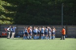 Lasers field hockey huddle during their Senior Day contest against Johnson & Wales. Photo by Jackie Colombie.