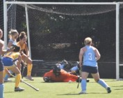 Landry gets down to save a ball. The junior goalkeeper has the second highest save percentage in the conference. Photo by Jackie Colombie