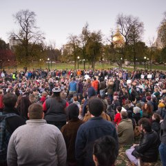A large crowd of peaceful protestors gather in Boston Common.