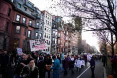 Protesters continued to march the streets throughout the majority of the day. (Photo by Michael Bueno)