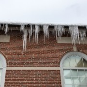 Icicles form outside of de Witt Hall.