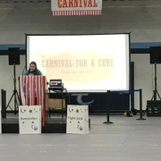 "President of Relay for Life Lasell, Megan Croce begins the ""Carnival for a Cure"" with opening remarks."