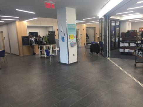 The main entrance is home to Starbucks and the new Information Technology HelpDesk and Donahue Bookstore.