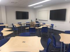 New additions to the classrooms include two flat-screen televisions and easily movable desk for group work