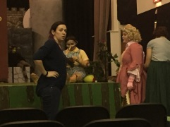 Director Lori L'Italien (left) finished sound checks with the cast.