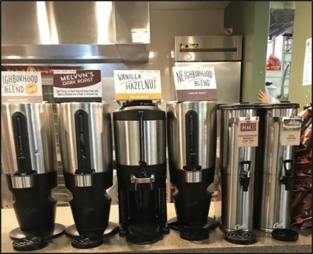 The coffee selection at Einstein's helps get students through the day.