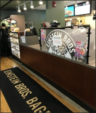 "Einstein Bros Bagels, located in Arnow Campus Center, is one of the dining options where students can use their dining dollars to purchase bagels, sandwiches, coffee, and a ""Take 3"" meal."