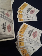 The Playbill offered attendees information about the Vagina Monologues production and the beneficiaries of the ticket proceeds. Along with information about the student directors and performers.