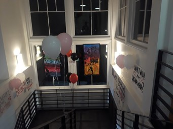 Balloons and posters created by students lined the stairwell leading to the Yamawaki auditorium.