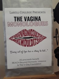 Lasell College presents its production of the Vagina Monologues. This year's spotlight was on incarceration.