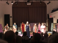 "Mrs. Peters looking for Mrs. Wright's bird in the show ""Trifles."" (L) The cast of ""The Refugee Women"" put on their own play titled, ""The Trojan Women."" (R)"