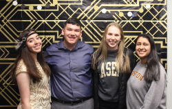 (Left to Right) The Class of 2023's student board who hosted the event for the night: Samantha Vega-Torres, Michael Woo, Hannah Booth, Mahima Patel. The four first-year students organized this event to raise money for their Class Giving Challenge.
