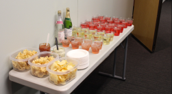 Tortilla chips, dip, and various mocktails that were up for grabs at the speak- easy. The food and drinks helped set the tone of the event.