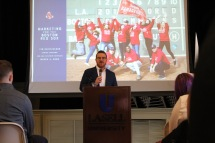 Tim Heintzelman, the Senior Director of Creative Services & Content for the Boston Red Sox speaks at School of Business Day